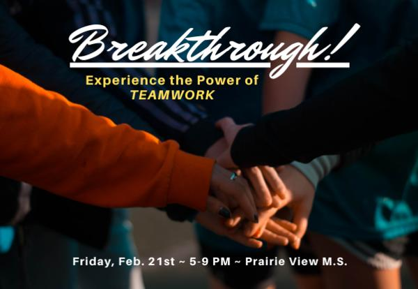 breakthrough graphic with students holding hands