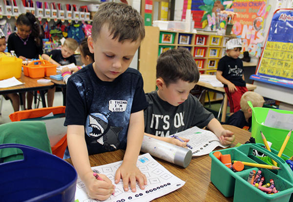 kindergarten students working in classroom