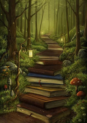 Pathway full of books
