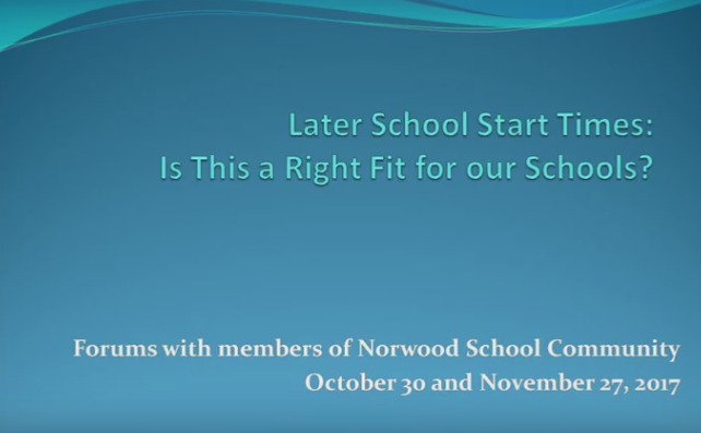 Later School Start Time Forum