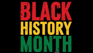 Black History Month Words in Read, Yellow, and Green