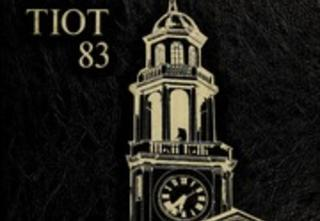 Yearbook cover with a clock tower
