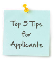 Top 5 Tips for Applicants