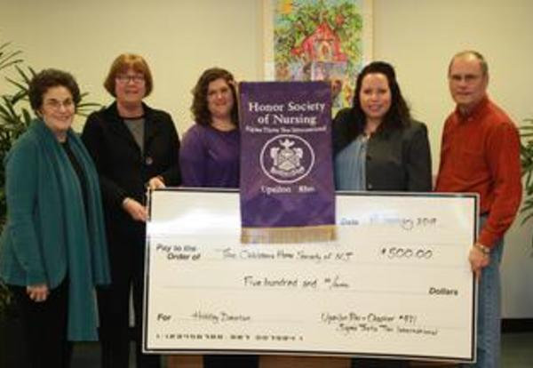 TESU's Nursing Honor Society Makes Donation to The Children's Home Society of New Jersey