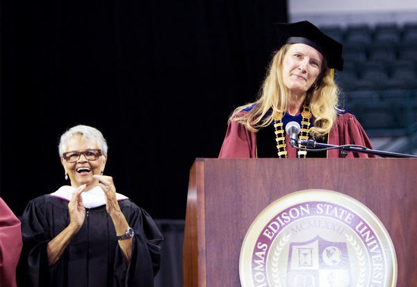 Dr. Merodie Hancock (on right) addresses Thomas Edison State University's graduates during her inauguration and the institution's 46th Annual Commencement Ceremony.