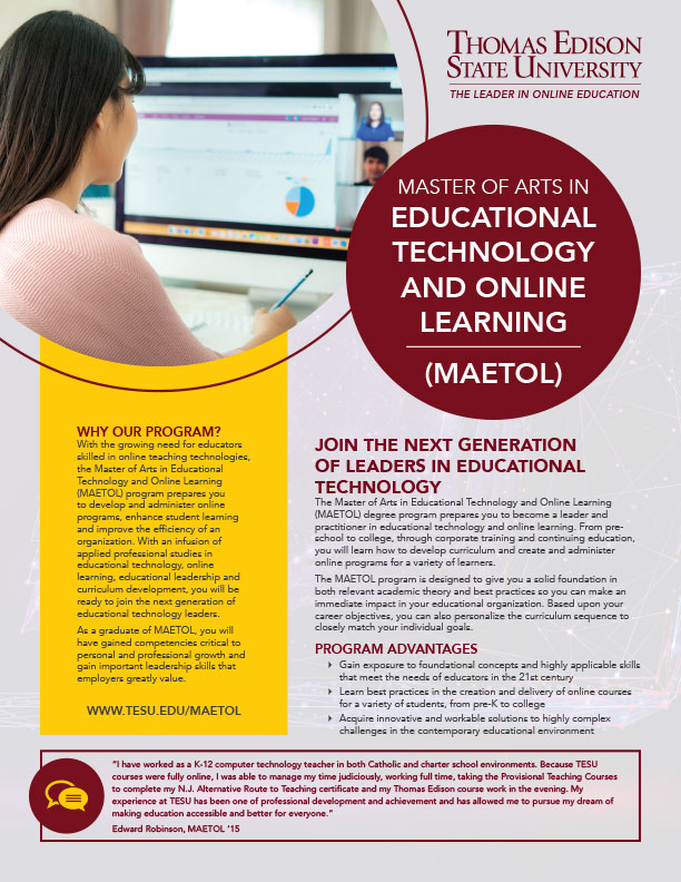 MA in Educational Technology and Online Learning