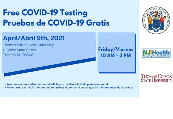 Free COVID-19 testing on April 9, 10am to 3pm.