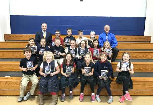 Kewanee, Wethersfield, Neponset & Visitation 3rd Grades receive dictionaries from Rotary