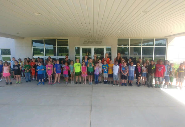 Photo of Irving School Students in front of Martin Engineering Building