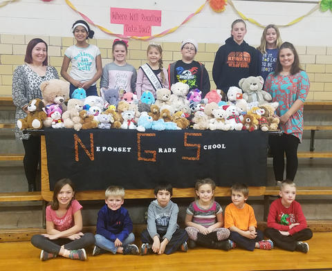 Neponset students with stuffed animals collected for St. Judes