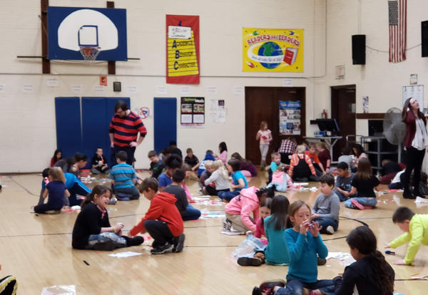 Irving Students in Gym with Balloon powered cars