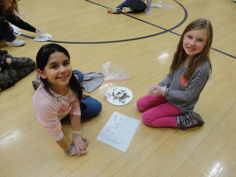 Two Irving female students dissecting owl pellets