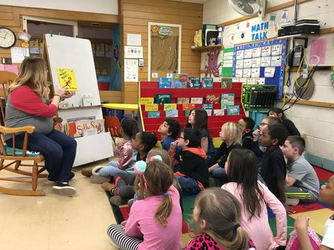 Belle 1st Grade students reading with teacher