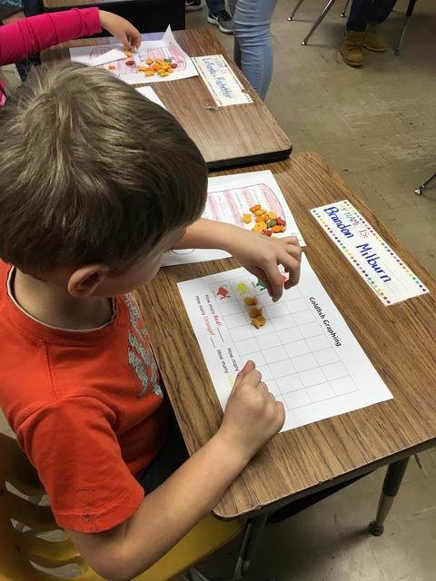 Belle student working on Dr. Seuss projects