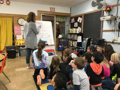 Belle Students Listening to Dr. Seuss Stories