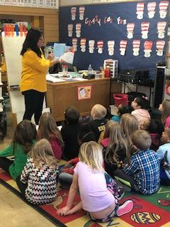 1st Grade Students enjoying Dr. Seuss Stories