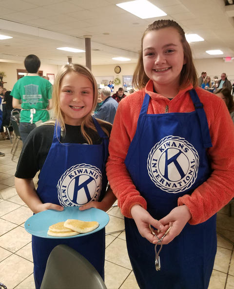 Two Kiwanis Volunteer from Central Builder's Club