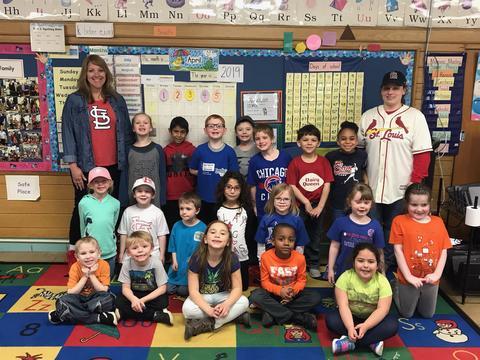 Mrs. Hodge's classroom wearing baseball shirts