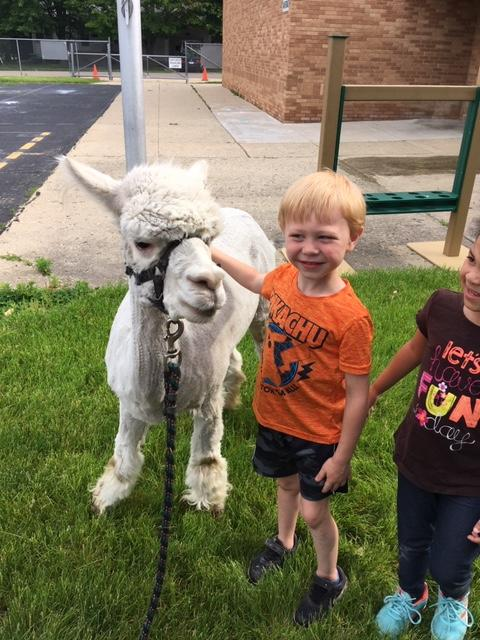 Lyle Student pictured with a baby Llama