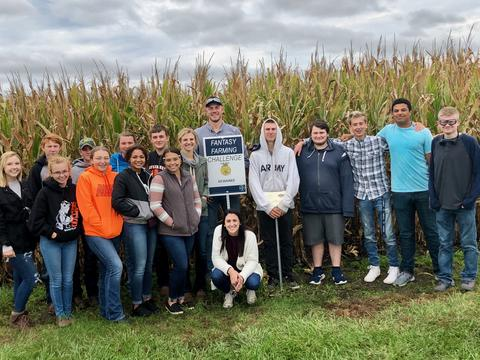 KHS Ag students standing in front of corn field