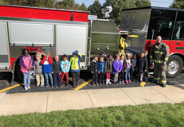 Belle Pre-K students in front of fire truck