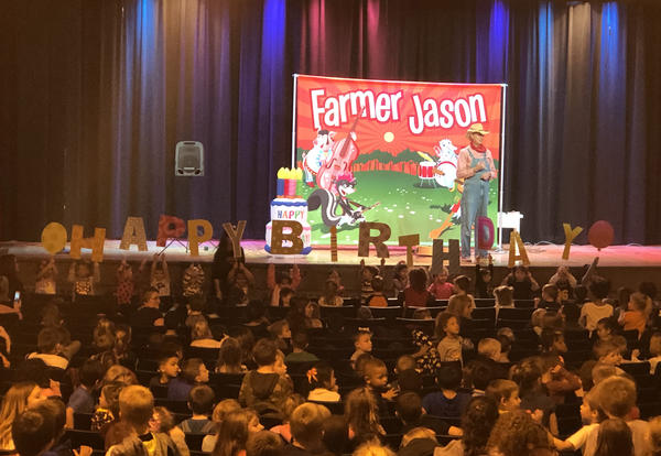 KHS Auditorium with Farmer Jason on Stage