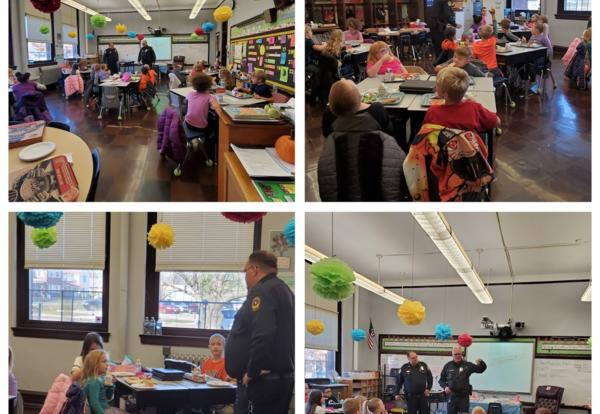Four photos of Chief Ainley and Officer Woods visiting Irving students
