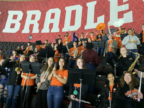 KHS Pep Band in Bleachers at Peoria Rivermen Hockey Game