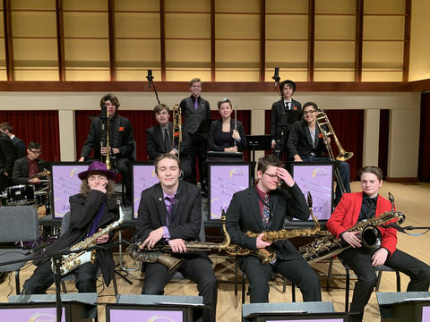 Group photo of KHS Jazz Band members