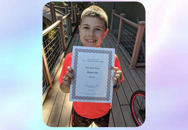 Beach Student Mason Cash Receives Sue C. Boynton Poetry Award