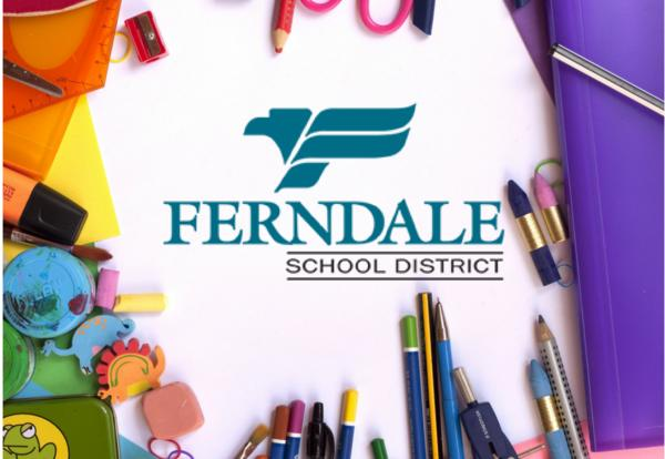 School supplies with Ferndale School District logo