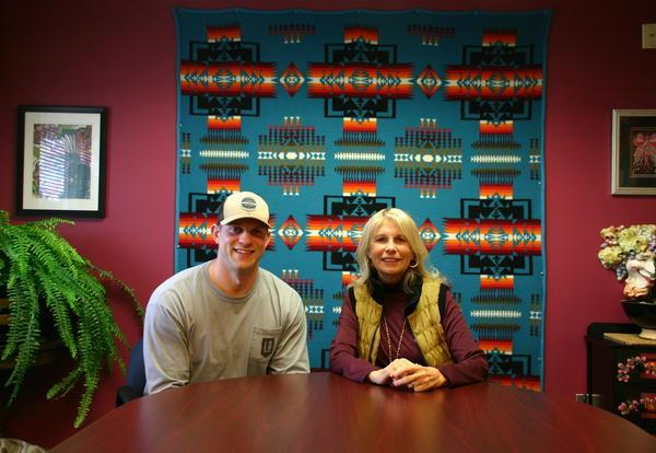 Ferndale School District Superintendent Dr. Linda Quinn and FHS Grad Jake Locker