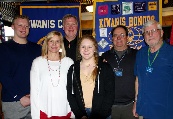 Photo (L to R): Larson Fairbairn (Kyrie's twin brother), Kersten and John Fairbairn (Kyrie's mom and dad), FHS senior Kyrie Fairbairn, Ferndale Kiwanis President Greg Kendall and Ferndale Kiwanis Member Roger Quiggle