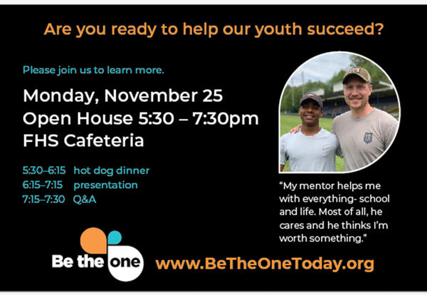 Be The One Community Mentoring Program Hosting Open House on Monday, November 25