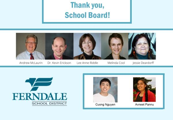 Graphic with photos of each school board member