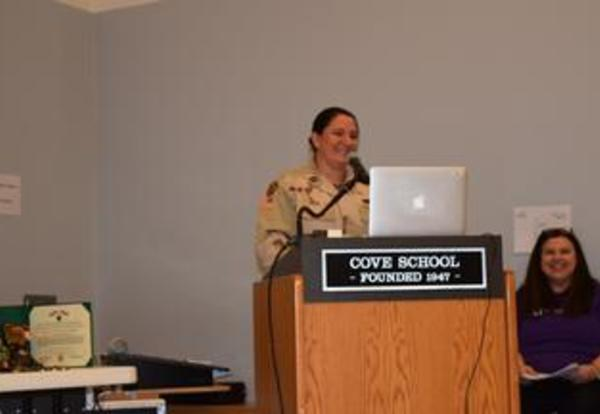 Captain Carrie Hoza Brings Veterans Day Alive for Cove Students