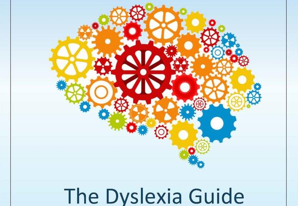 The Dyslexia Guide image of a brain represented by wheels and flowers.