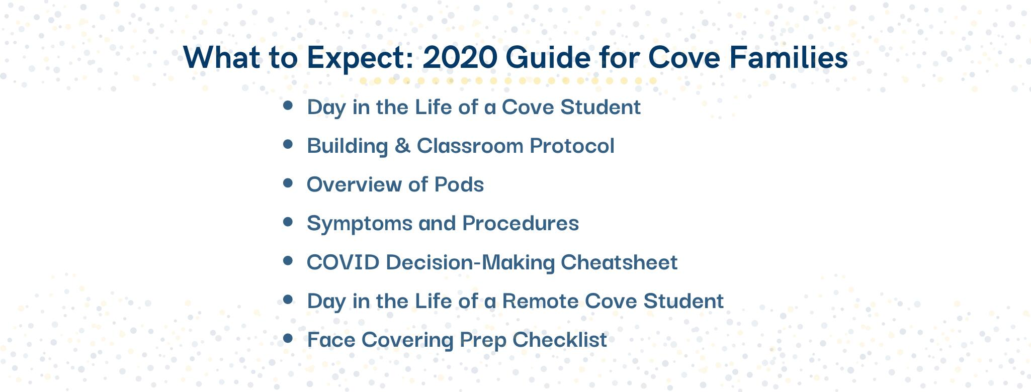 What to expect 2020 guide for Cove Families