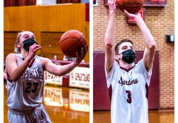 Double pane of Abby & Declan each with basketball