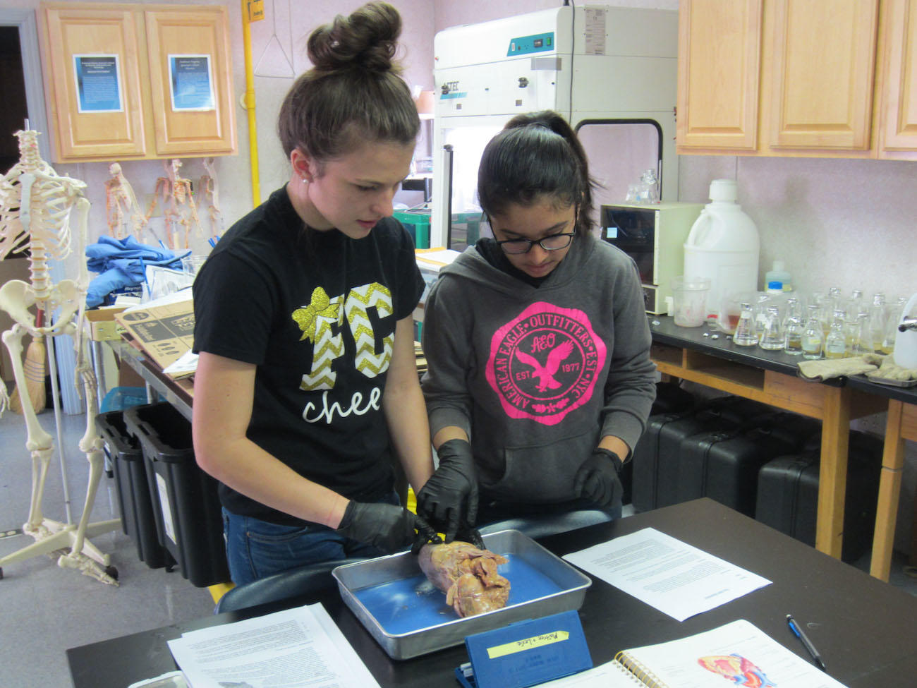 Two female students in a lab class