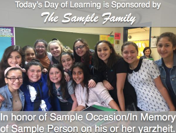 "Smiling students, ""Today's learning is sponsored by the Sample Family,"""