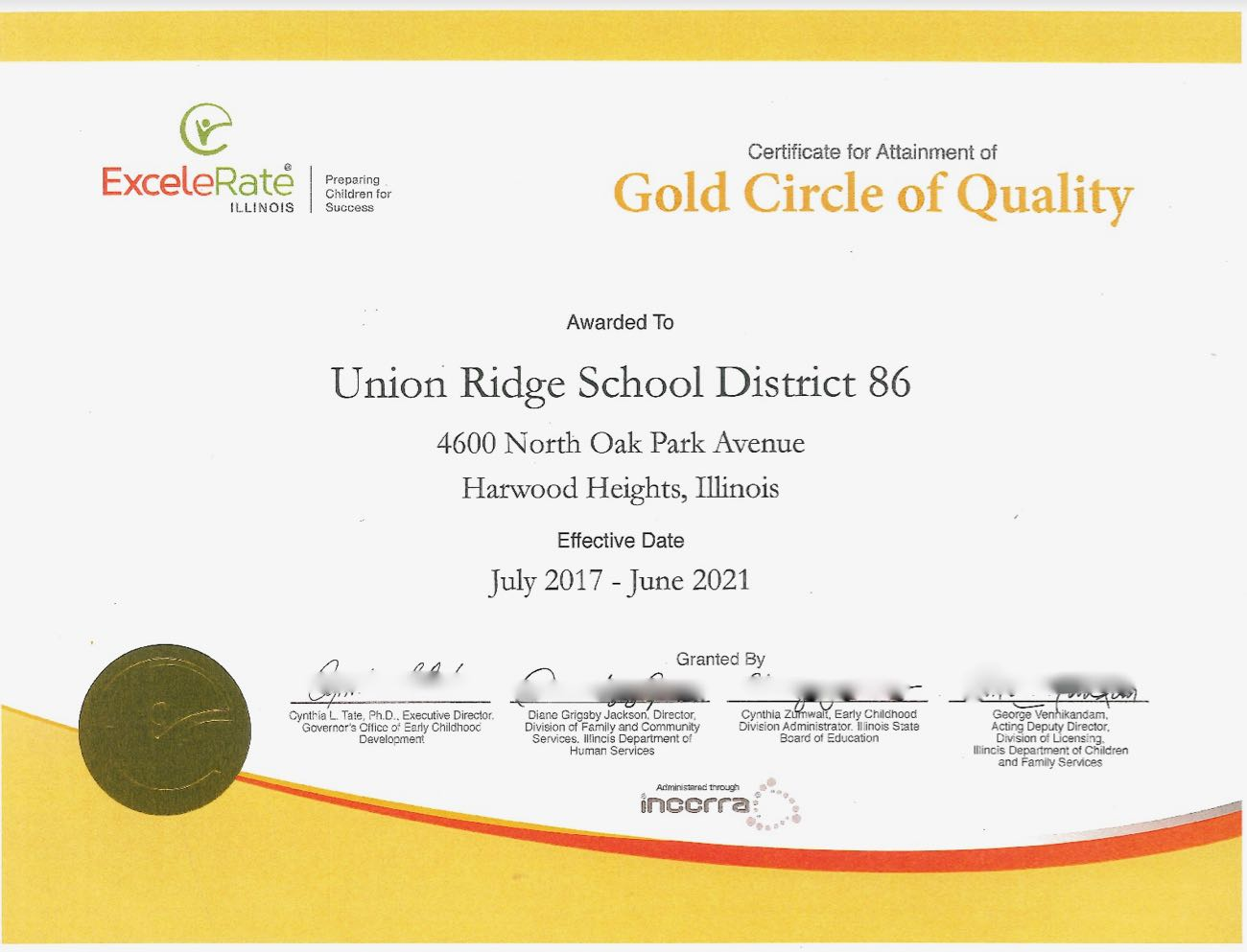Gold Circle Of Quality Award About The District