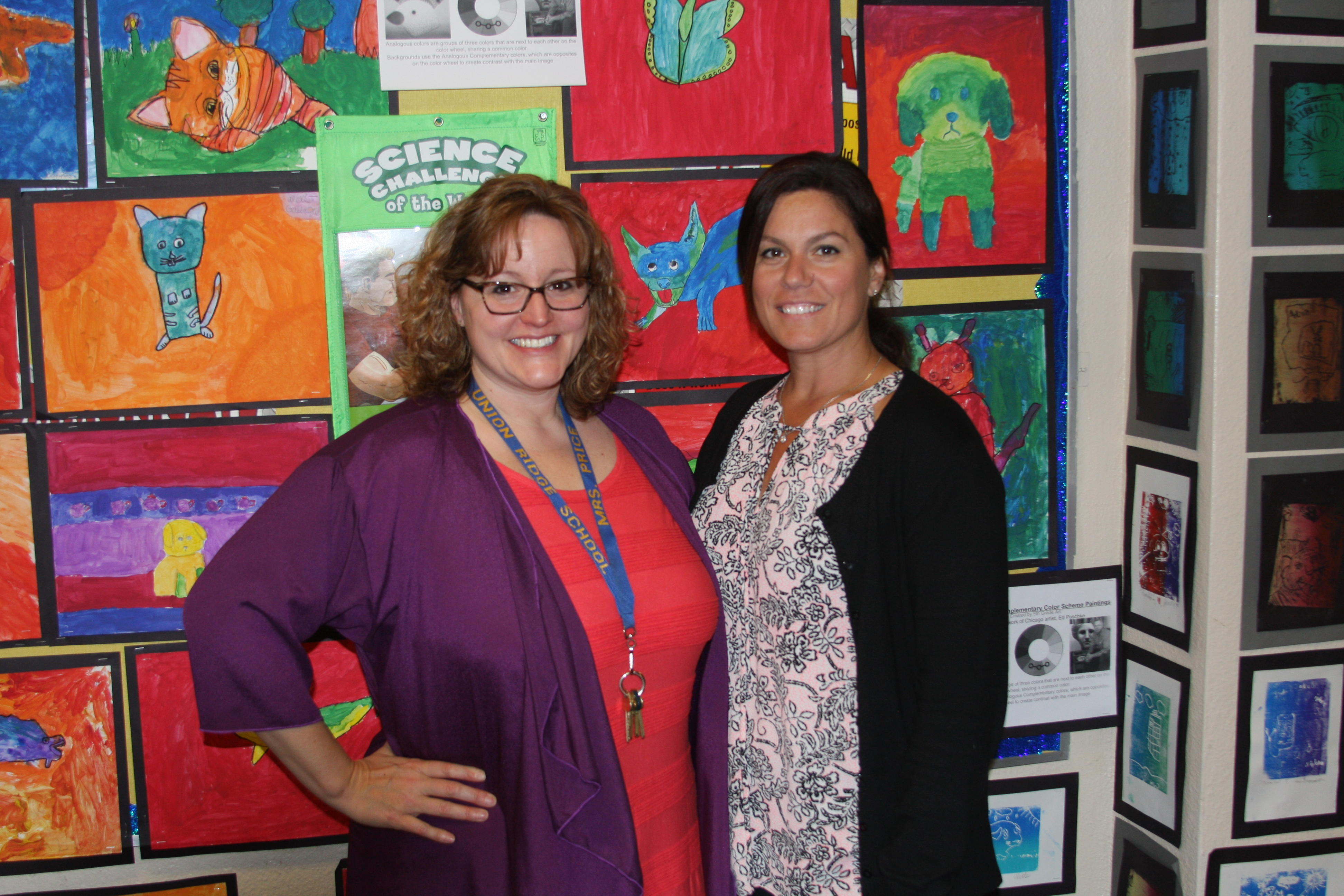 5th grade art display and teachers