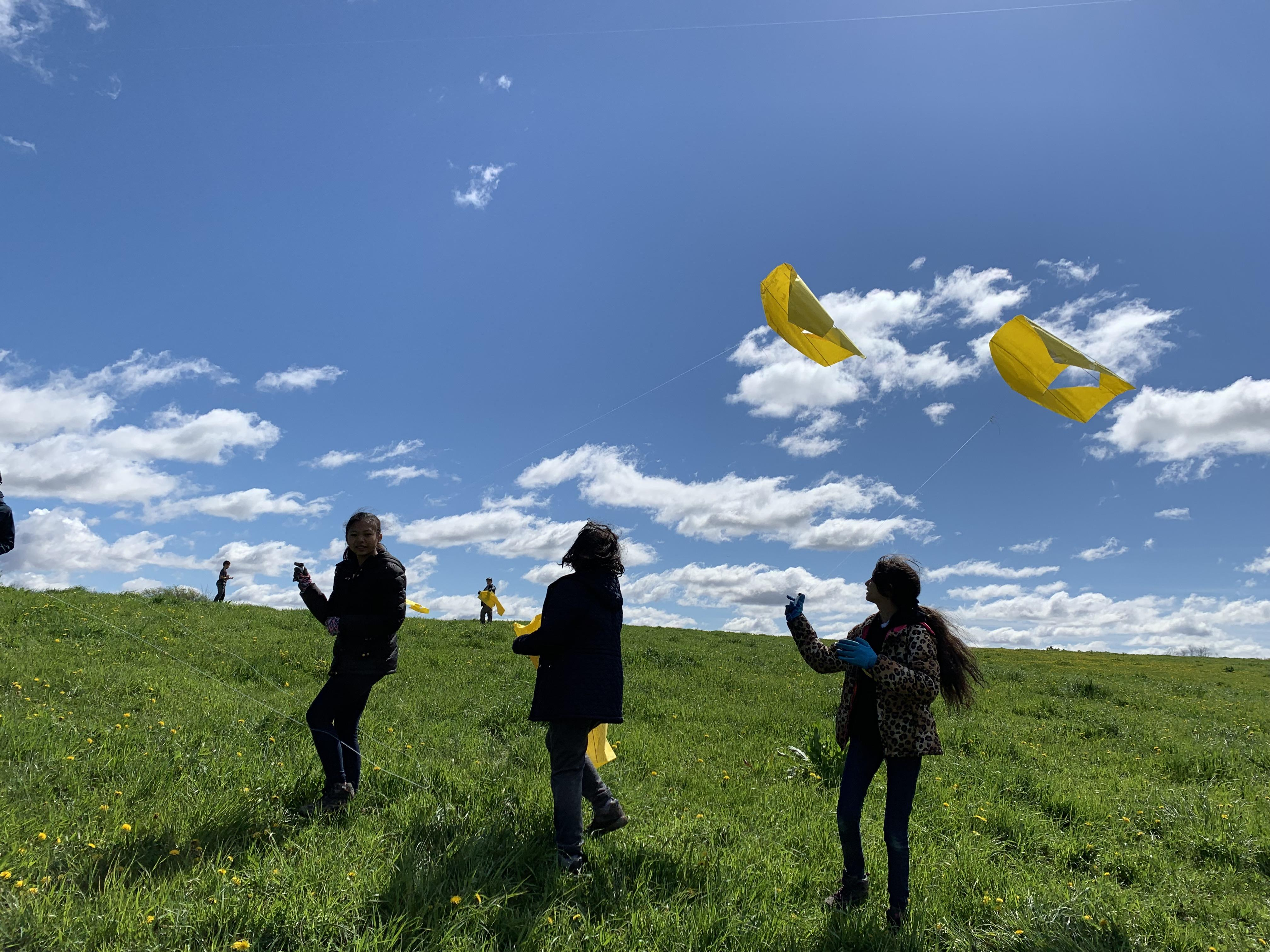 Outdoor Education Trips students flying kite