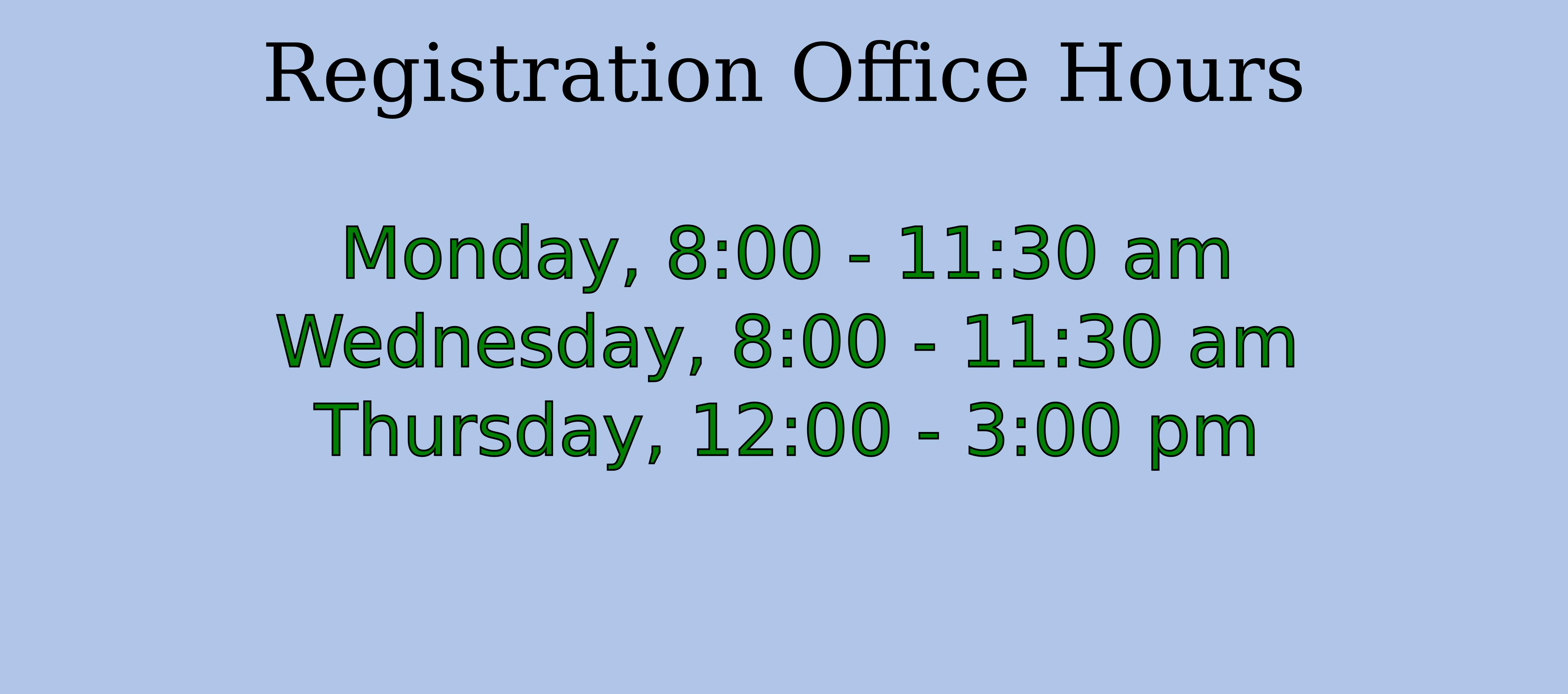 Registration Office Hours