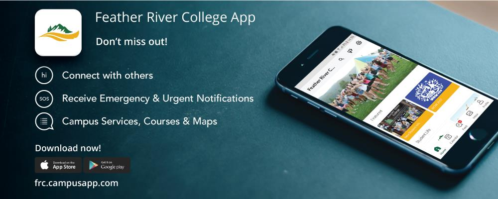 Feather River College App, Connect with others, Receive Emergency Notifications