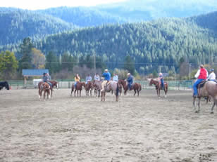 Class being held in large outdoor arena