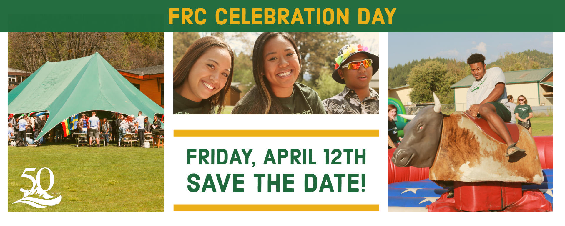 FRC Celebration day, students smiling, Friday April 12th save the date