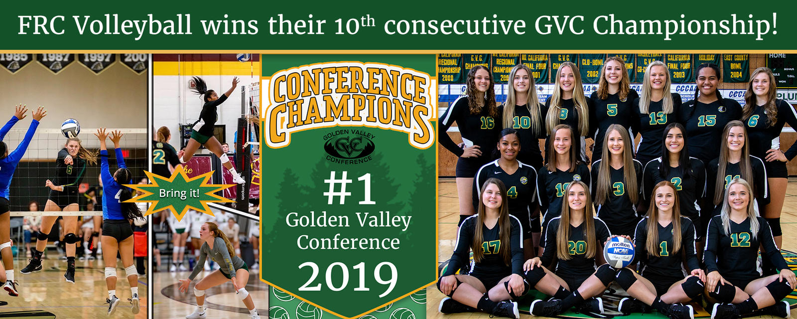 FRC Volleyball wins 10th consecutive GVC Championship