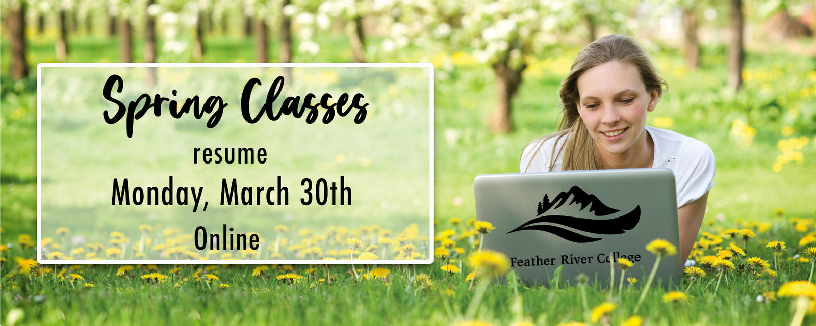spring classes resume online Monday March 30th.